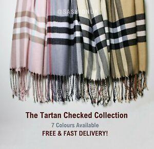 Check Scarf Soft Tartan Stole Warm Plaid Shawl Winter Wrap 6 Colours