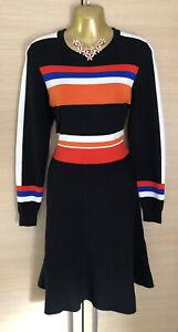 Exquisite Karen Millen Stripe Knit Stretch Dress UK12 Stunning