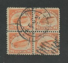 1918 US Air Mail Stamp #C1 Used F/VF Full Postal Cancel Block of 4