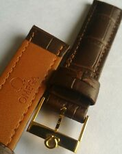 OMEGA WATCH 18MM BROWN BRACELET BAND , OMEGA GOLD PLATED VINTAGE WATCH BUCKLE