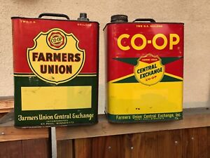 (2) -CO-OP Oil Cans Farmers Union Central Exchange 2 Gallons Tin - St. Paul Minn