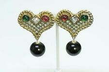 Vintage Valentino Heart Crystal Earrings