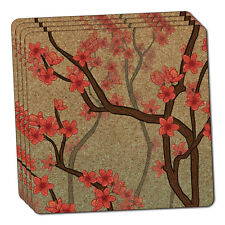 Cheery Cherry Blossoms Thin Cork Coaster Set of 4