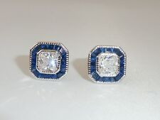 Ladies Art Deco Halo Design 925 Sterling Silver Blue & White Sapphire Earrings