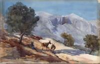 DONKEYS IN MOUNTAIN LANDSCAPE Watercolour Painting PHILIP WILLIAM COLE c1930