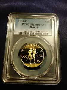 1984 P US Olympics $10 Gold Coin PCGS PR 70 DCAM [low pop - 46]