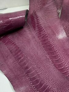 Ostrich Legs Skin Leather Lilac Color GL / G.A (%100 Genuine Ostrich Leather)