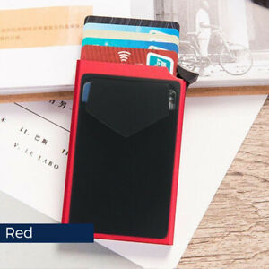 Pop Up Credit Card Holder RFID Slim Card Wallet Aluminum Elasticity Back Pouch
