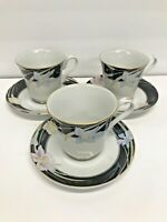 MIKASA Vintage 1985 Charisma Black Fine China Cup with Saucer L 9050 Set Of 3