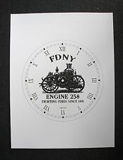 "(015) Clock Face Fire Dept. Fdny House 258 New York City Steam Engine 6.5"" Dial"