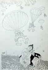 Humor Fallschirmspringer Fallschirm Karikatur Albert Dubout 1944