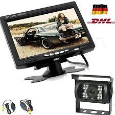 """7"""" LCD Monitor Funk Kabellos Rückfahrsystem Auto Farb- Rückfahrkamera 18LED DHL"""