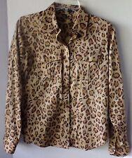 Lauren Ralph Lauren Women's Animal Print Long Sleeve Sleeve Button Down Shirt Tops & Blouses