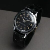 VINTAGE MENS WESTCLOX 17J MECHANICAL WIND BLACK MILITARY DIAL WRISTWATCH WATCH