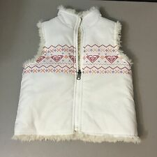 Girl's Roxy Teenie Wahine White Puffy Vest Zip Front Fur Lined Size 5T
