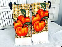 Vintage 70's TERRY TREASURE OF CALIFORNIA Dish Towels Oranges Set of 2
