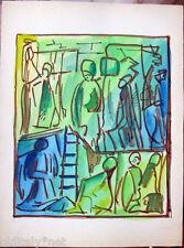 Acquerello '900 su carta Watercolor figure astratto futurista cubista-150