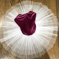 1st Position Girls Dark Pink Velvet Full Tutu Child XL Age 11-12 Dance/leotar