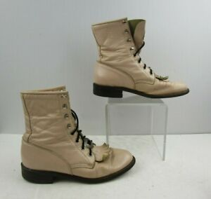 Ladies Justin Light Pink Leather Roper Lace-Up Boots Size: 6 B