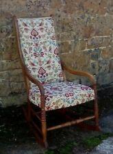 Beautiful Refurbished Reupholstered  Antique Wooden Oak Rocking Chair