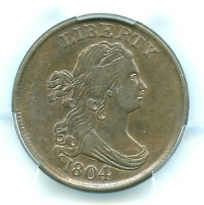 1804 C-10 Crosslet 4, Stems Draped Bust Half Cent, PCGS AU58, CAC Approved!