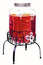 Rammento Vintage Beverage Glass Drink Juice Dispenser With Stand 4 Litre Bar New