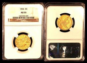 1836 $5 NGC AU55- Classic Head-Half  Eagle