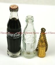 Lot of THREE Coca Cola Mini Bottles including 1940s Keychain