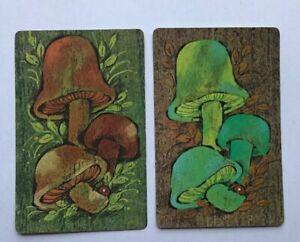 Vintage Mushrooms Illustration Swap PlayingCard Pair, 1960s Artwork Green Brown