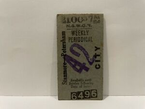 NSWGR Railway Ticket Weekly Periodical Stanmore Petersham City 1957