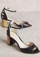 NEW Anthropologie Bechette Black Leather Open Toe Heels Size 6