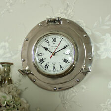 Silver metal wall mounted nautical porthole clock shabby vintage chic boy's room