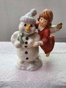 "Goebel Hummel Figurine. ""Angelic Fun"", angel and snowman. With Original Box"
