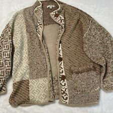 COLWATER CREEK Women's Cardigan Beige Long Sleeve Button Front Large Chunky