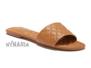 New ALDO Ceryan Quilted Leather Sandals Slides Cognac $60 Size 6 NIB