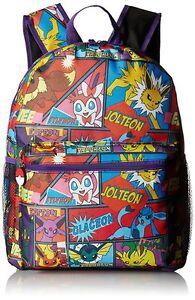 "16"" Allover Print Pokemon Pikachu & Charmander, Evee Boy's School Backpack- 2019"