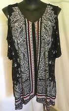 "AUTOGRAPH BLACK ""PAISLEY"" COLD SHOULDER SHORT SLEEVE HANKY HEM TOP-SIZE 22"