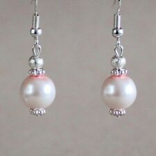 Light blush pink pearls silver drop dangle earrings wedding bridesmaid accessory