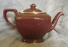 1920/30s Hall China Company 0113 HOLLYWOOD Maroon 6-Cup Teapot w/Gold Decoration