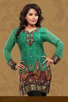 Indian Designer Gorgeous Printed Green Crepe Silk KurtisTunicTop for Women kurti