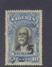 Liberia 1920, 5c on 10c Buchanan, ONE extra handstamp quad at bottom #178