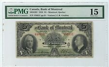 1938 $5 Bank Of Montreal Chartered Banknote Pmg F15