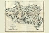 Mount Everest, Preliminary Map; Antique Map by Howard Bury, 1922