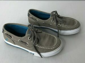 Nautica boy's size 13 gray canvas boat shoes ties fabric uppers