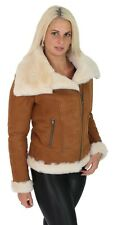 Womens Genuine Sheepskin Jacket Double Face TAN Merino Shearling Aviator Coat