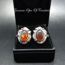 925 Stirling Silver Baltic Amber Earrings 7.8g Art Nouveau