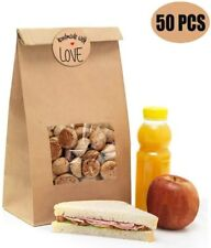 50Pcs Brown Bakery Bags with Window Kraft Paper Bags with 50Pcs Handmade Sticker