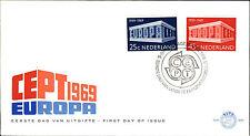 Primero etiquetas carta eerste Dag uitgifte Nederland CEPT 1969 sello especial haya