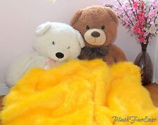 Luxurious Faux Fur Throw Blankets 5' x 6' Yellow Shaggy Comforters Nursery Decor