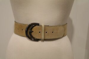 Genuine Suede Made In Australia Taupe Wide Belt 101.5m Incl Buckle Size M